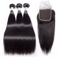【12A 3PCS+Closure】 Brazilian Straight Virgin Hair Brazilian Straight Hair Bundles With Closure 3 Bundles 100% Human Hair Weave Bundles With Closure  H