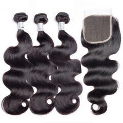 【12A 3PCS+Closure】 Malaysian Virgin Hair Bundles With 4*4 Lace Closure 3 PCS  Natural Color Body Wave Hair Weave Bundles