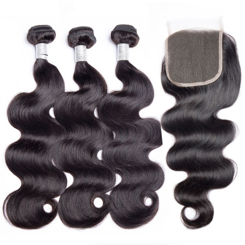 "【12A 3PCS+Closure】  Body Wave Brazilian Hair Extensions ""8-30"" inch 100% Human Hair Weave 3 Bundles with Closure Virgin Body Wave Brazilian Hair"