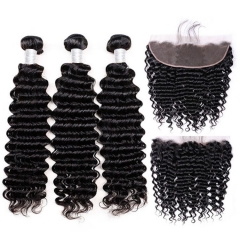 【12A 3PCS+Frontal】Brazilian Human Hair Bundles with Lace Frontal Closure Deep Wave 3Pcs Hair Bundles With 1pc Frontal Closure  Brazilian Hair Free Shi