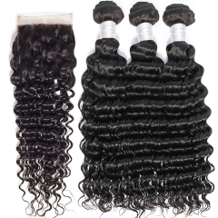 "【12A 3PCS+Closure】Deep Wave Brazilian Hair Extensions ""8-30"" inch 100% Human Hair Weave 3 Bundles with Closure Virgin Deep Wave Brazilian Hair"