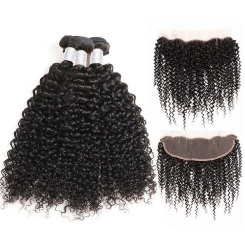 【12A 3PCS+Frontal】Human Hair Bundles with Lace Frontal Closure Peruvian Deep Curly 3Pcs Hair Bundles With 1pc Frontal Closure  Peruvian Deep Curly Hai
