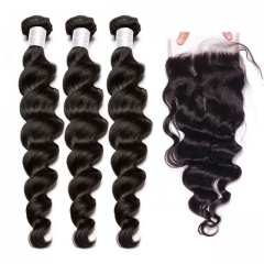 【12A 3PCS+ Closure】Brazilian Loose Wave Hair Unprocessed Virgin Hair With 1PC Lace Closure Free Shipping
