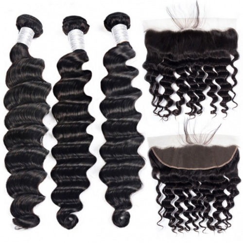 【12A 3PCS+Frontal】Loose Curly Human Hair Bundles with Lace Frontal Closure Peruvian Loose Deep Wave 3Pcs Hair Bundles With 1pc Frontal Closure Peruvia