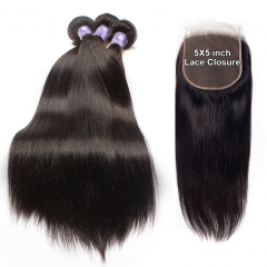 3PCS WITH 5*5 LACE CLOSURE BEST BLACK HAIR
