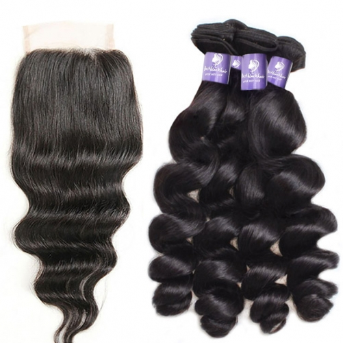 4PCS WITH LACE CLOSURE HUMAN HAIR ALL TEXTURES
