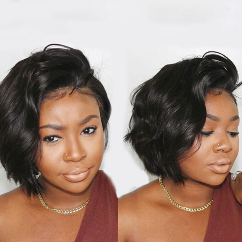 13*4 LACE FRONTAL WIG 8INCH PIXIE STRAIGHT BOB WIG 150% DENSITY