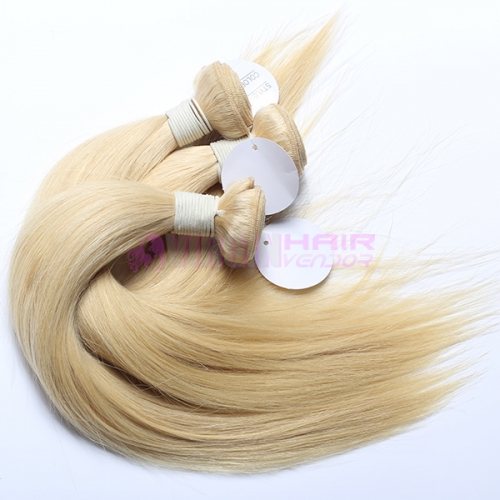 Highest quality Straight human blonde hair 613 color European human hair weft