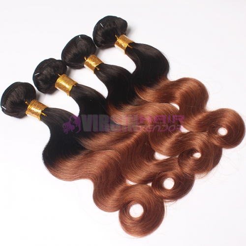 Top grade real virgin human hair Brazilian ombre hair weaves
