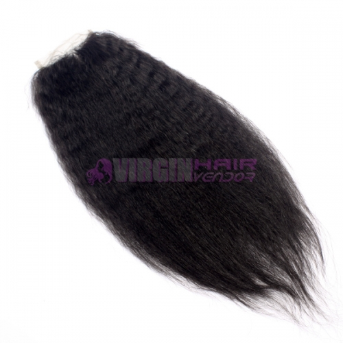 Wholesale Super Quality Virgin brazilian Hair Kinky straight Human Hair Lace Closure