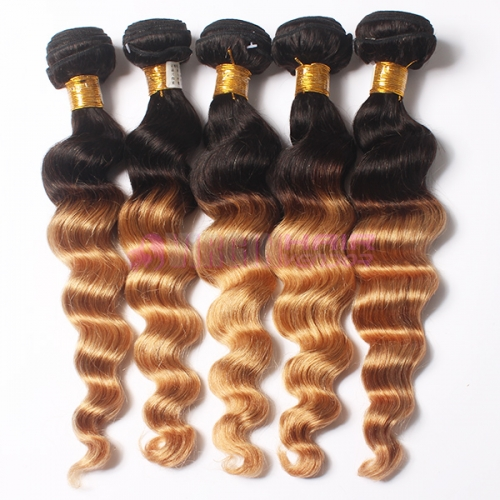 Ombre Malaysian hair Loose wave virgin Human Hair Weave  Omber 1b/27 weave