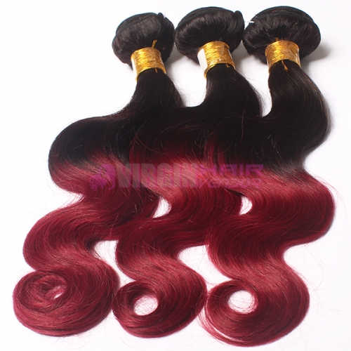 Hot selling top quality full cuticle Malaysian virgin color ombre hair extension