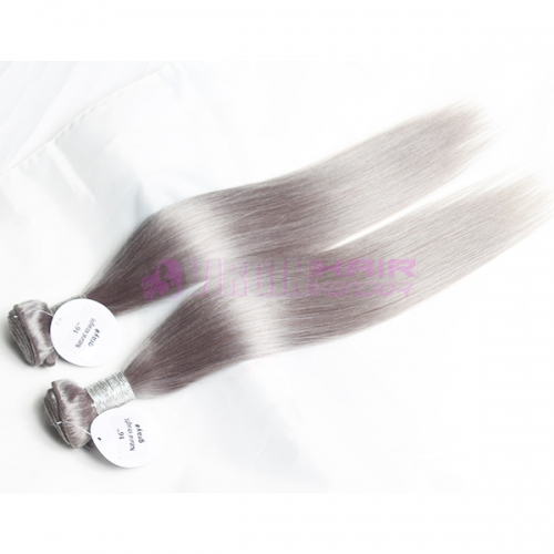New fashion tangle free natural straight hair weft grey Brazilian hair