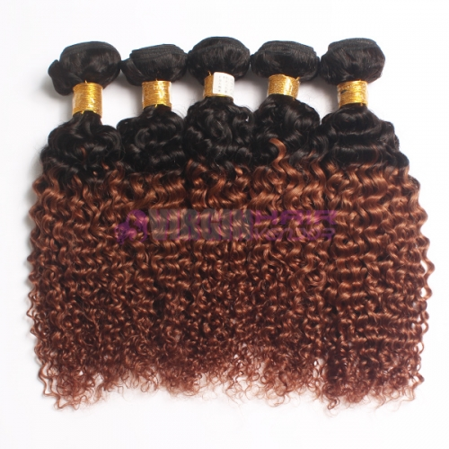 24 inch 100% human ombre hair double drawn curly virgin hair