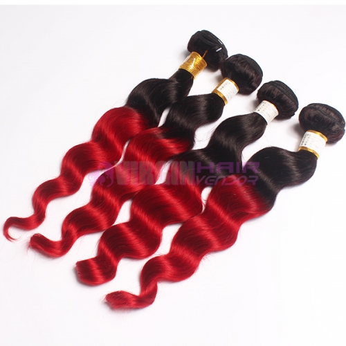 Ombre Peruvian Hair Loose wave Peruvian Human Hair Weave Bundles Ombre Hair Extensions