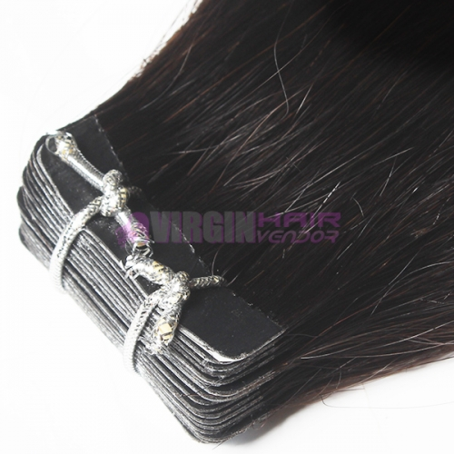 Wholesale brazilian straight tape in human hair extensions #1b