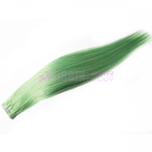 Skin Weft No Shedding Tape Hair Silky Straight Green color
