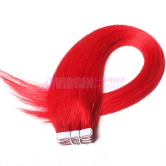 natural straight hair 100% tape hair extension red color