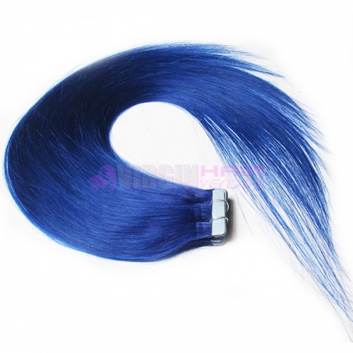 100% human hair cheap tape hair extension Blue color
