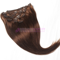Remy Virgin Brazilian Hair Clip In Extensions #4 Clip In Human Hair Extensions