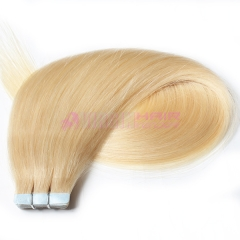 brazilian straight tape in human hair extensions #613 color