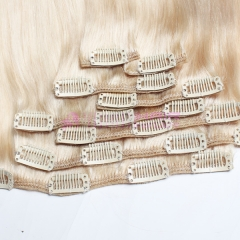 Double Weft Clip In Hair Extensions Virgin Brazilian Hair #60 Color Clip On Hair