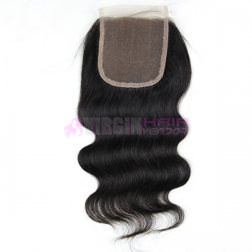Malaysian cheap body wave hair free parting lace closure