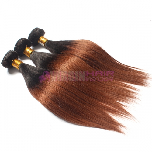 Omber human hair weft #1b/30 Straight brazilian virgin hair