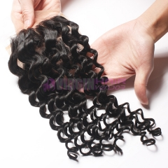 8-18 Inch Top Gade 4x4 inch Silk Base Lace Closure Deep curl Free part & Middle part three part