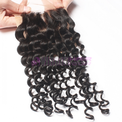 8-18 Inch Top Grade 4x4 inch Silk Base Lace Closure Deep curl Free part & Middle part three part