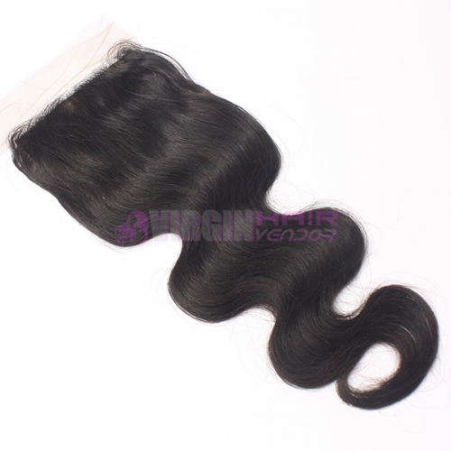 8-18 Inch Good Gade 4x4 inch Silk Base Lace Closure Body wave Free part & Middle part three part