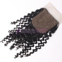 8-18 Inch Good Gade 4x4 inch Silk Base Lace Closure Kinky Curl  Free part & Middle part three part