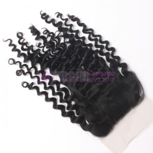 8-18 Inch Good grade 4x4 inch Silk Base Lace Closure Kinky Curl  Free part & Middle part three part