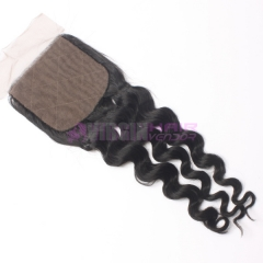 8-18 Inch Good Gade 4x4 inch Silk Base Lace Closure Deep wave Free part & Middle part three part