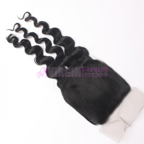 8-18 Inch Good Grade 4x4 inch Silk Base Lace Closure Deep wave Free part & Middle part three part