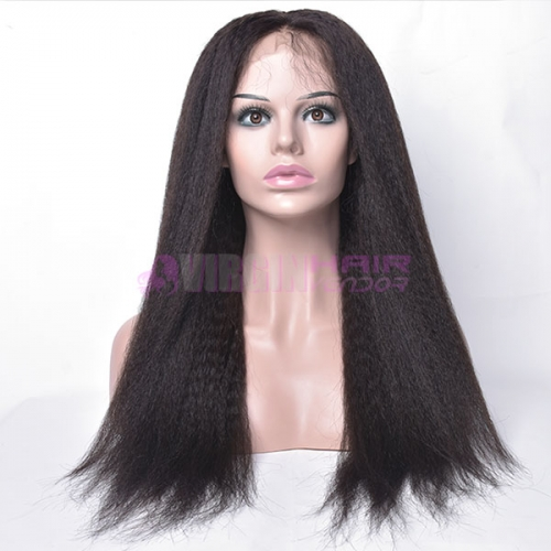 kinky straight,150% destiny 100% Human Hair  Lace Frontal Wig kinky straight 12-22inch natural color
