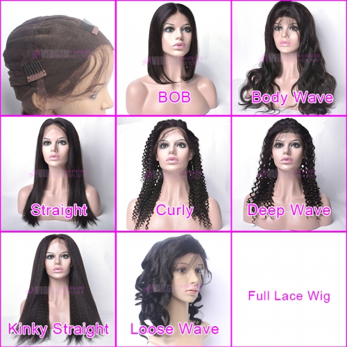 Full Lace Wig, 150% destiny 100% virgin human hair full lace wig different styles natural color