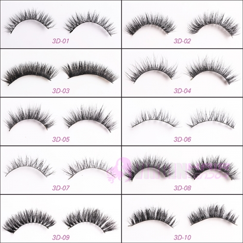 NO.01-10 Colorful Feather Eyelashes,Crazy Design Party Style False Eye Lashes