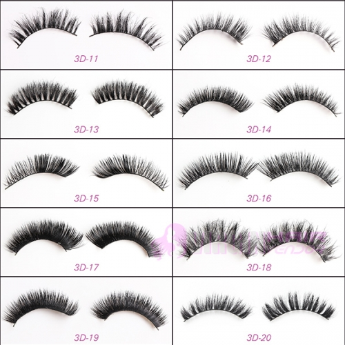 NO.11-20 100% Handmade Real Mink Fur False Eyelash 3D Strip Mink Lashes Thick