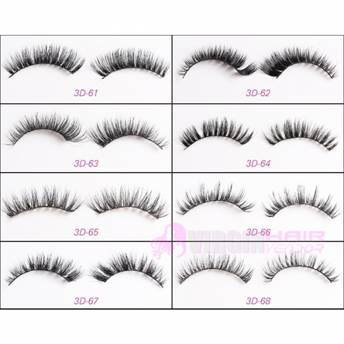 NO.61-68 Private label 3D real mink fur eyelashes, wholesale 3d mink eyelash, mink lashes
