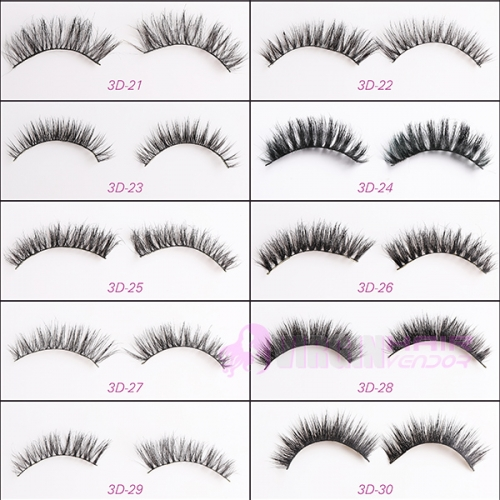 NO.21-30 Factory supply private label natural 100% real mink 3d hair strip eyelahses