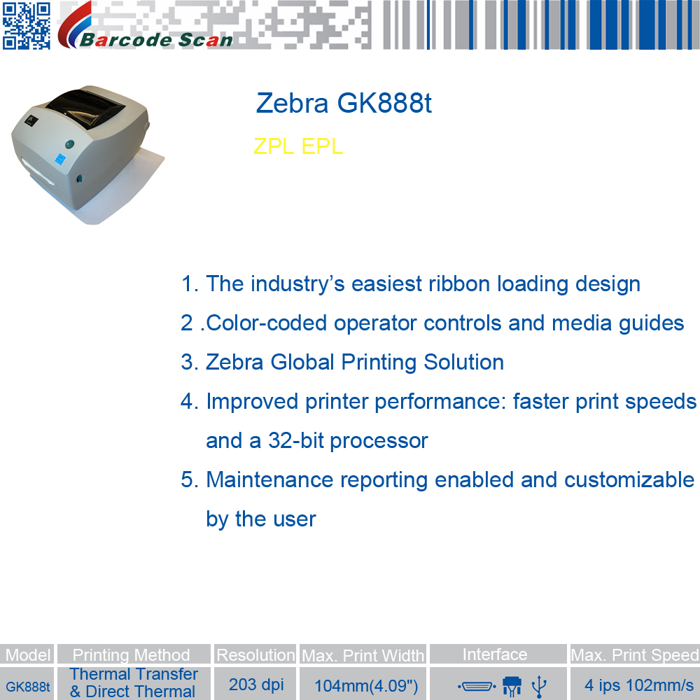 It's just a picture of Universal Zebra Gk888t Label Barcode Printer