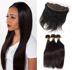 Ula Hair 7A Brazilian Straight Human Hair 3pcs and 1pc Lace Frontal Closure Deal Brazilian Hair Extensions