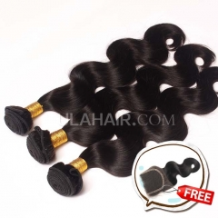 Ula Hair Buy 3 Get 1 free 3 Bundles Set 7A Brazilian Virgin Hair Body Wave Get 1 Lace Clousure Free Shipping
