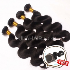 Ula Hair Buy 4 Get 1 free 4 Bundles Set 13A Brazilian Human Hair Body Wave Get 1 Lace Clousure Free Shipping
