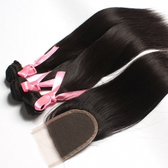 Ula Hair 7A Malaysian Straight Human Hair 3pcs and 1pc Lace Closure Deal Malaysian Hair Extensions