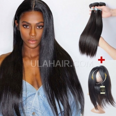 【13A 3PCS+Closure】Brazilian Straight 360 Lace Frontal  With Three Bundles Straight 360 Lace Frontal Closure Free Shipping