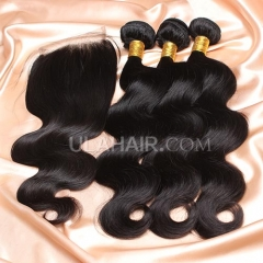 【8A 3pcs+closure】Ula Hair 8A Brazilian Virgin Hair Body Wave 3 Bundles & Lace Closure Free Shipping Bundles