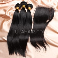 【8A 3pcs+closure】Ula Hair 8A Brazilian Straight 3 Bundles & Lace Closure Free Shipping 12-32 inches