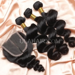 【8A 3pcs+closure】Ula Hair 8A Malaysian Loose Wave 3 Bundles & Lace Closure Free Shipping